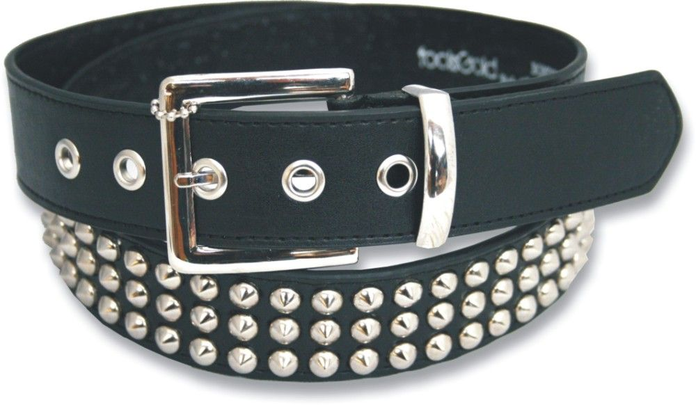 3 Row Conical Bonded Leather Studded Belt