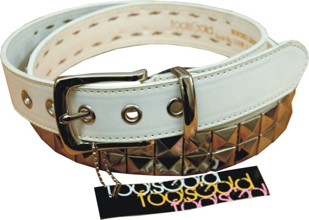 2 Row Pyramid White Bonded Leather Studded Belt