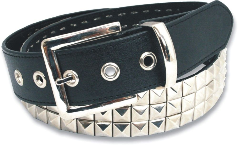 3 Row Pyramid Bonded Leather Studded Belt