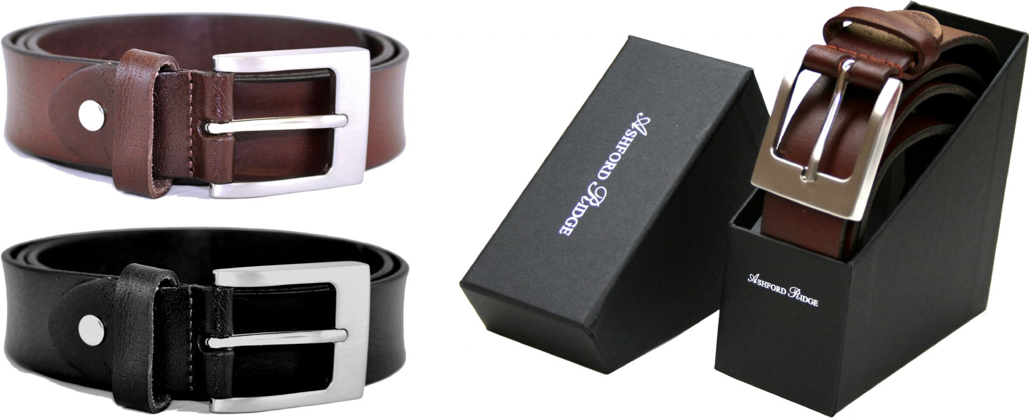 Gift Boxed Mens Classic Full Grain Leather Belt Made in UK Black or Brown