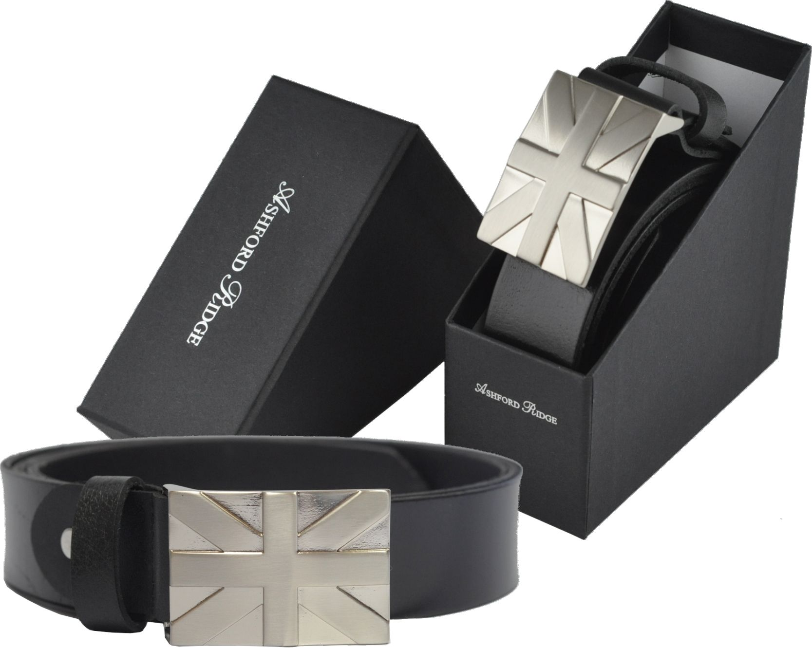 Gift Boxed Mens Classic Full Grain Leather Belt with Union Jack Buckle Made in UK Black or Brown