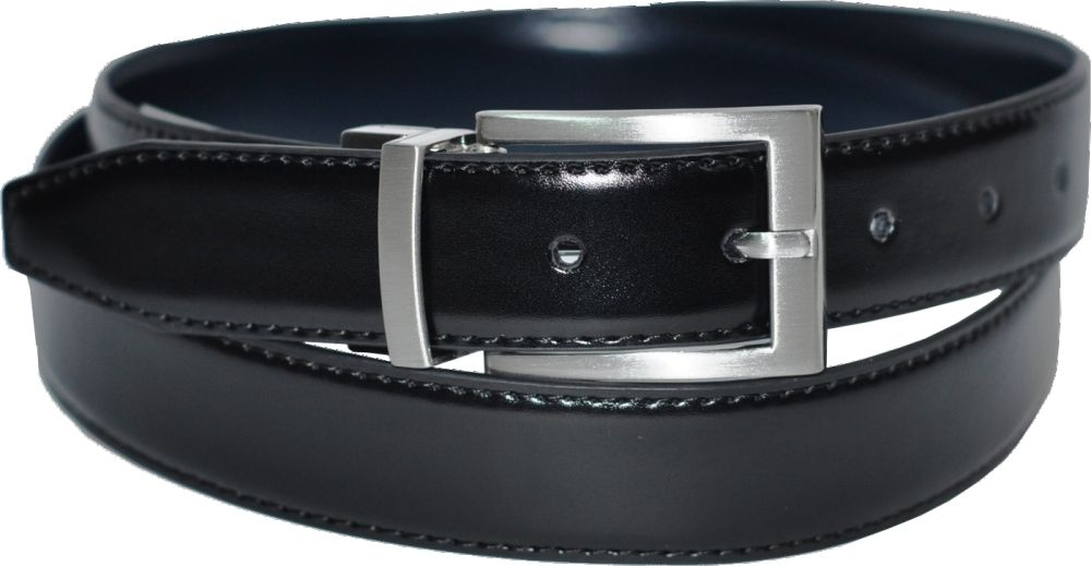 Mens 30mm Twist Reversible Black/Navy Leather Belt
