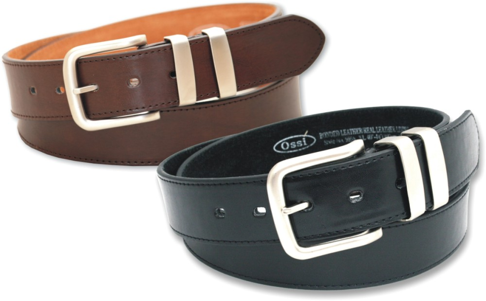 Ossi 38mm Leather Lined Belt 2 Pack (Black & Brown)