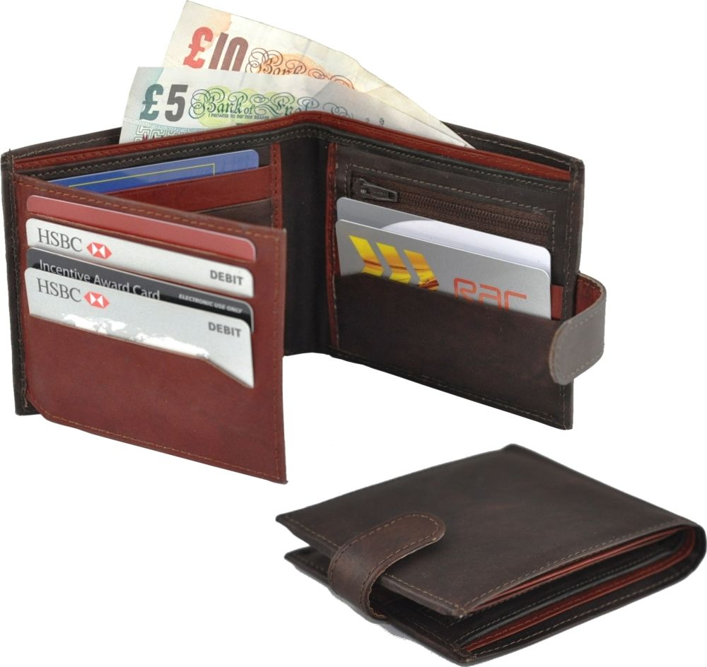 Real Leather Two Tone Wallet with Fold Out Card Section in Brown/Burgundy