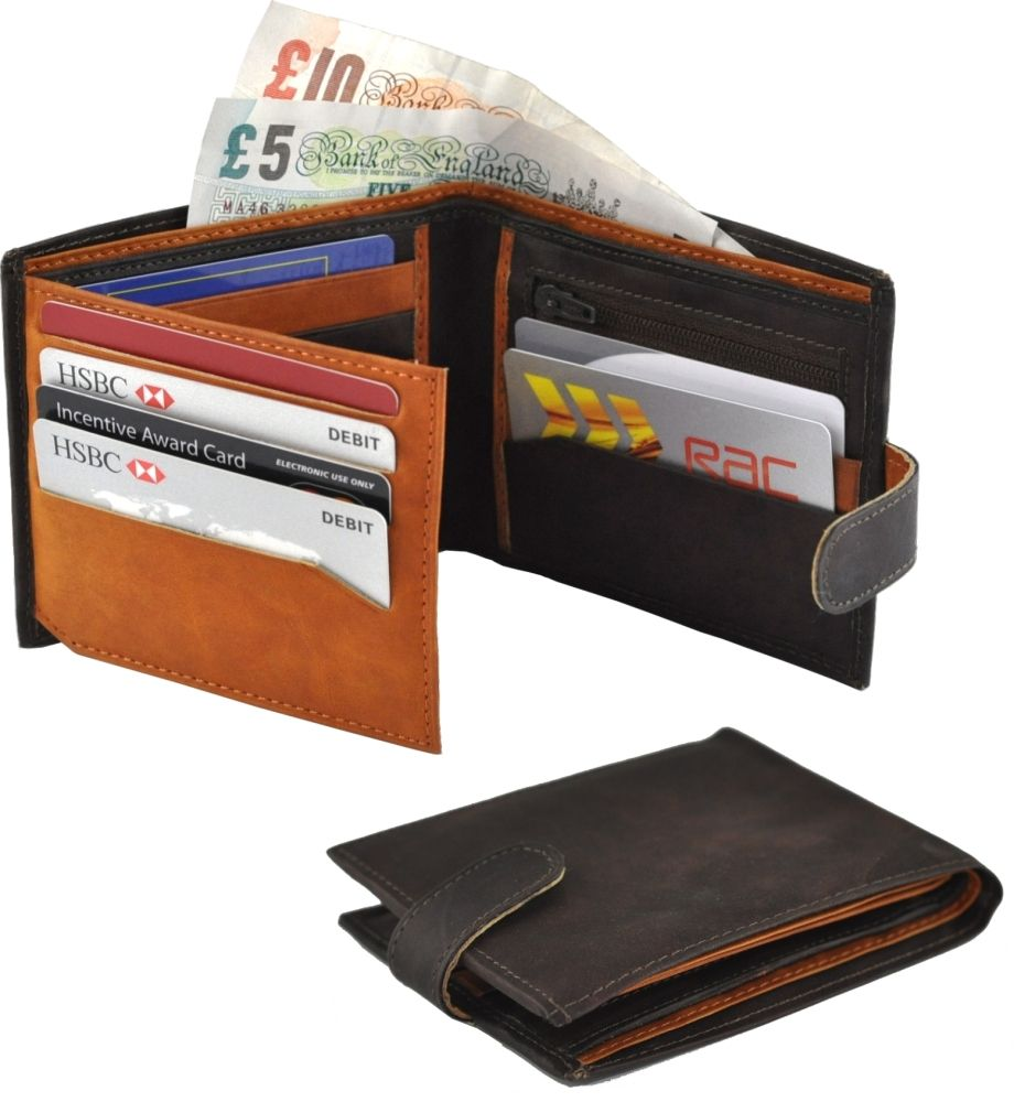 Real Leather Two Tone Wallet with Fold Out Card Section in Brown/Tan